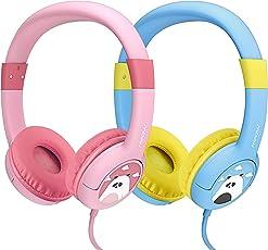【2 Stück: Blau & Rosa】Mpow Kopfhörer Kinder, Kopfhörer für Kinder mit 85dB Lautstärke Begrenzung Gehörschutz & Musik-Sharing-Funktion, Kinderkopfhörer mit Kinderfreundliche sichere Lebensmittelqualität