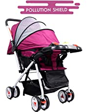 Little Olive Tweety Stroller Pram - Pollution Shield and Musical Food Tray - (Wine Colour) for Newborn Baby/Kids Stroller/Pram, 0-3 Years