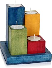 Hashcart Wooden TeaLight Set with Tray in Multicolor Finish for Home Decor / Gift