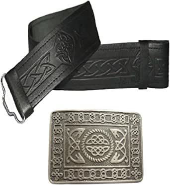 Leather Kilt Belt and Buckle - Many Sizes and Designs to choose from (Size 30-36 inches, Embossed Black with Antique Celtic Buckle)