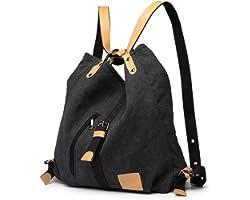 KONO Damen Canvas Handtasche Rucksack Frauen Schultertasche Shopper Tasche Vintage Hobo Umhängentasche für Arbeit Schule Reis