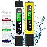 AIMTOP PH Mètre, Testeur PH, TDS&EC Mètre Température, 4 en 1 Testeur de qualité de l'eau avec Écran LCD, ATC, Auto-Calibrati