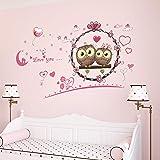 Amazon Brand - Solimo PVC Vinyl Owl Love Wall Sticker for Bedroom (113 x 66 cm, White)