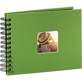 Hama Fotoalbum Spiralalbum (50 schwarze Seiten, 25 Blatt, Größe 24 x 17 cm, mit Ausschnitt für Bildeinschub) Fotobuch apfelgrün