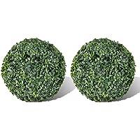 vidaXL 2X Plante Artificielle Topiaire Décoration Jardin Patio Boule de Buis