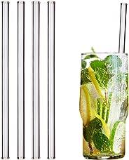 HALM Glas Strohhalme Wiederverwendbar Trinkhalm - 4 Stück gerade 20 cm + plastikfreie Reinigungsbürste - Spülmaschinenfest -