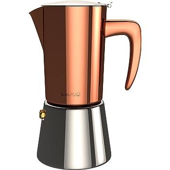 BonVIVO Intenca Caffettiera a Induzione, Moka a Induzione, Caffettiera In Acciaio Inox – Caffettiera Per Espresso / Caffettiera Da 6 Tazze In Acciaio Inox Con Rifiniture In Rame Cromato.