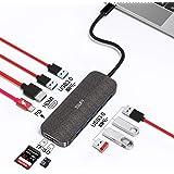 TSUPY HUB USB C 10 en 1 Thunderbolt Adaptador 5gbps USB 3.0 * 6, Hub Tipo C con HDMI 4k,100W USB-C Power Delivery,Lector de T