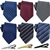 Jeatonge Lot 6 Pcs Mens Ties and 3 Free Tie Clips, Men's Classic Tie Necktie Woven Jacquard Neck Ties Gift box packing (Style
