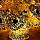 Shatchi 4.3m Battery Operated Gold Moroccan hEART20 Warm White LED Fairy String Light Christmas Decorations