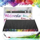 DazSpirit Watercolor Brush Pens met 24 penseelstiften en 1 Aquash watertankpenseel voor kalligrafie, schetsen en kleuren. Op