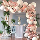 Rose Gold Party Balloon Garland Arch Kit 104Pcs - Pastel Latex and Confetti Latex Balloons for Baby Shower, Wedding, Birthday