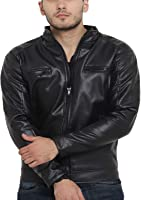Teesort PU Leather Jacket with Fur Lining for Men
