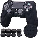 Pandaren STUDDED Silicone Peau de Housses Coque Anti-Dérapant pour le Manette PS4 x 1 (Noir) + FPS PRO Thumb Grip Pouce Poignées x 8