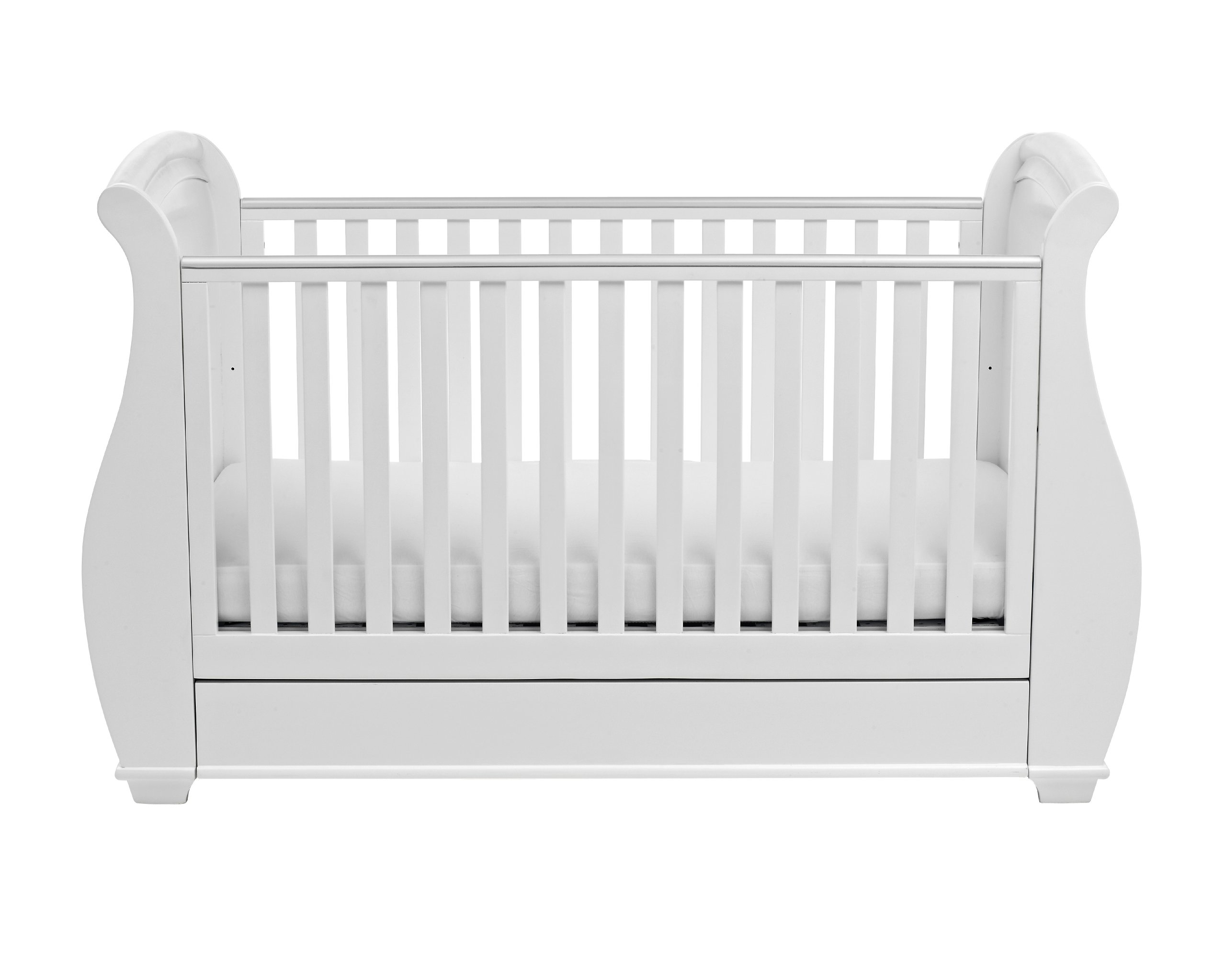 Babymore Bel Sleigh Cot Bed Dropside with Drawer (White)  Magnificent sleigh with appealing look of grandeur and solidity. Easily convert to junior bed/sofa/day bed, Meet British and European safety standards Single handed drop side mechanism allow easy access to your baby. 5