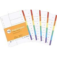 perfect line 5 pièces, 6 intercalaires DIN-A4 couleur avec page de garde (5x6), 22,3 x 29,7 cm, séparateurs registre, 6…