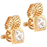 Miami Crystal Gold Diamond Cuff Links for Mens Cufflinks Set for Men with Gift Box