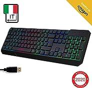 ⭐️KLIM Chroma Tastiera ITALIANA per Gaming USB - Alte Performance – Colori da Videogioco e Retroilluminata – Tastiera da Gioc
