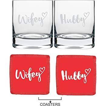 YaYa Cafe Wedding Anniversary Gifts for Couple Whiskey Glasses - Engraved Hubby Wifey Set of 4 with Coasters|Husband Wife - Stelvio 325 ml