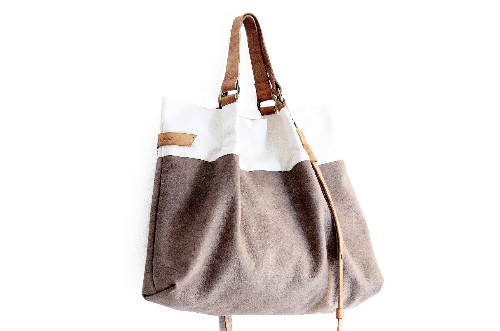 TOTE bag and HAND bag made of soft nubuk leather, canvas and italian leather. Emma bag - handmade-bags
