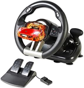 Serafim R1+ Racing Wheel Volant de jeu avec pédale réactive Compatible avec Xbox ONE, PS4, PS3, Switch, PC, iOS, Android Xbox One, volant de jeu PS4, volant de jeu PC