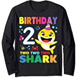 Compleanno 2 Due Anni Regalo 2 Year Old Baby Shark Birthday Maglia a Manica