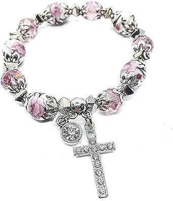 Nazareth Store Religioso Croce Bracciale Christian Classic perline Bangle con perline di cristallo rosa Sacro regalo per ragazze adolescenti Gioielli per donne e uomini