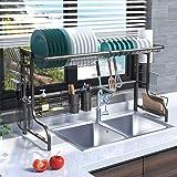 Plasaig Égouttoir à vaisselle pour évier,égouttoir pour comptoir de cuisine, étagère de rangement pour fournitures de cuisine