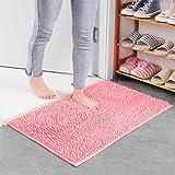 Xiaoxian Alfombra antideslizante de felpilla de microfibra con absorción de agua, lavable a máquina (40 x 60, rosa)