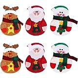 OULII 6 x Cocina Traje Cubiertos Portavasos Bolsillos Cuchillos Bolsas Bolso Muñeco de Nieve Santa Claus Elk Decoración de Fi
