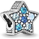 JCaleydo - Charm Estrella Radiante Azul, Plata de Ley 925 con *Caja Regalo* Compatible con Pulsera Pandora & Europeo, Charms