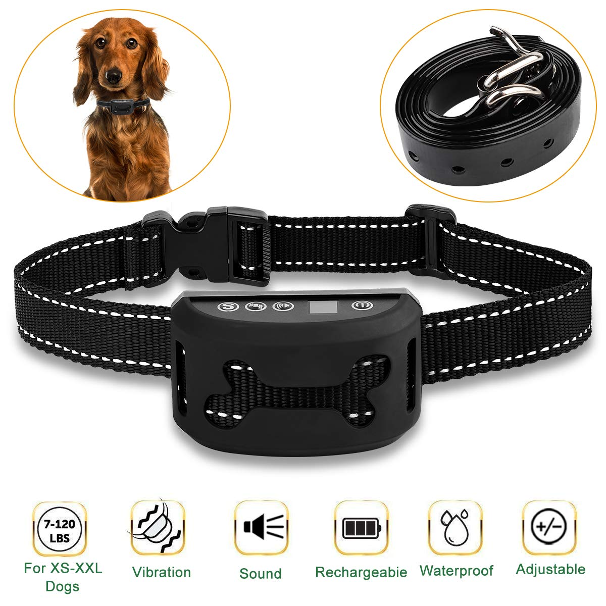 Dog Anti Bark Collar, Supernight Dog Barking Collars Stop Barking with Adjustable Belt Waterproof No Shock Harmless&Humane Training Control Strap, 7 Sensitivity Levels of Sound Vibration for S/M/L Dog