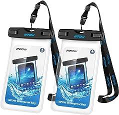 Mpow Wasserdichte Handyhülle 2 Stücke, Handy Hülle Wasserdicht, Staubdichte Schützhülle für iPhone X/8/7/6/6s/6splus/5/5c/5s/Galaxy S9/S8/S7/S7edge/S6/S6 Edge/S5,Huawei bis zu 6 Zoll