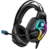 Cascos PS4 con Micrófono, Auriculares Gaming Profesional con Doble Haz, 50mm Drivers Sonido Envolvente, Reducción de Ruido y
