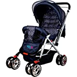 BabyGo Delight Reversible Baby Stroller & Pram with Mosquito Net, Mama Diaper Bag & Wheel Breaks (Navy Blue)