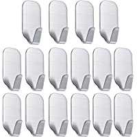 16 Pack of Self Adhesive Hooks, SMALUCK Stainless Steel Adhesive Wall Hanger for Robe, Coat, Towel, Keys, Bags, Home…