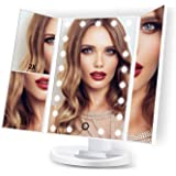 make-up spiegel, HAMSWAN 3-zijdige make-up spiegel tafelspiegel met 21 LED opvouwbaar dimbaar 180 graden draaibaar 1X 2X 3X