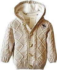 ARAUS Baby Strickjacke Wolle Kapuzenjacke Fleece Gefütterte Winterjacke Warme Cardigan 0-5 Jahre alt
