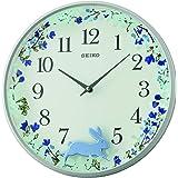 ساعة حائط بندول بعقارب من سيكو، QXC238N - ازرق وابيض