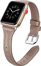 Dolank for Apple Watch Armband 38mm/42mm, Chic&Retro Leder Armbänder Sport Ersatz Uhrenarmband mit Edelstahl Schnalle für iWatch, Nike+, Series 3 2 1, Edition 8 Farben