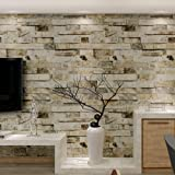 HANMERO Brick Wallpaper Imitation Brick Marble Wall Pattern Looks Real Up Wallpaper 20.86 inches by 393.7 inches Long Murals