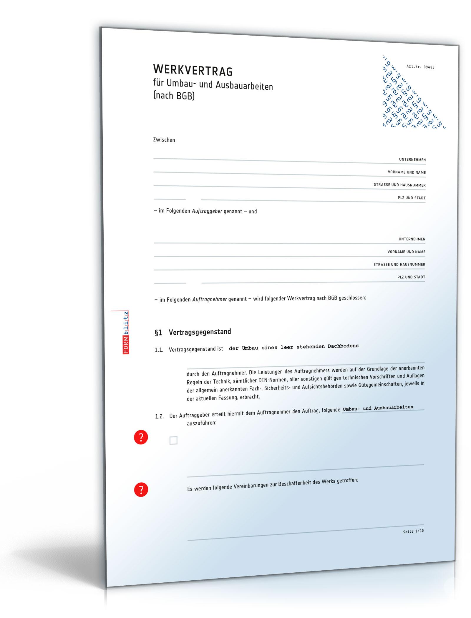 Werkvertrag zu Umbau- und Ausbauarbeiten [Word Dokument]