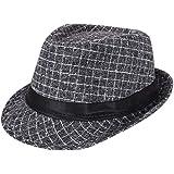 AIEOE - Sombrero Hombre Boda Panamá Jazz con ala Ancha Gorro de Copa Disfraz Trilby Hat Adulto Caballeros Sombrero Invierno C