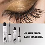 4D Silk Fiber Eyelash Mascara, Waterproof Mascara Cream,Washable Eyelash Extension, Black Eyelash, Long Lasting for Crazy...