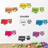 StickMe Baby Kid's PVC Vinyl Cute Birds Colours Names Nursery Pre School Learning Education Creative Wall Sticker (115 X 85 c