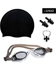 ispeed Swimming Kit with Antifog Goggles,Silicone Cap Noseclip,EarPlugs for Men,Women,Boys,Girls,Kids and Adult.