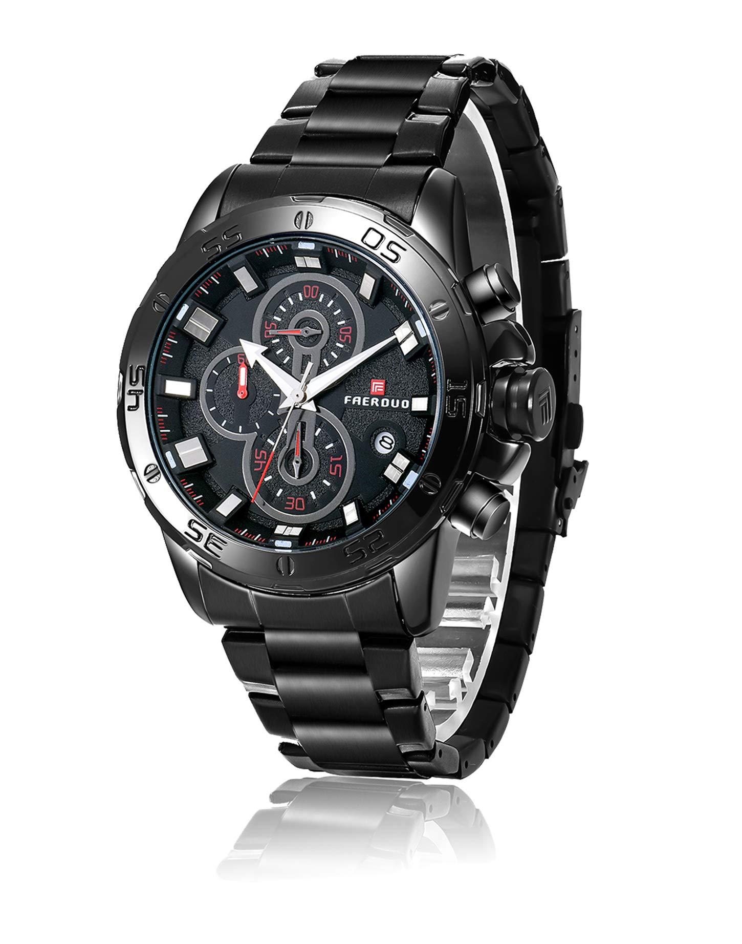 4a925b962c06 Inicio   Baratos   FAERDUO Reloj Hombre Negro Lujo Moda Relojes de Pulsera  para Hombres Vestir Casual Impermeable Reloj de Cuarzo para Hombre con Banda  ...