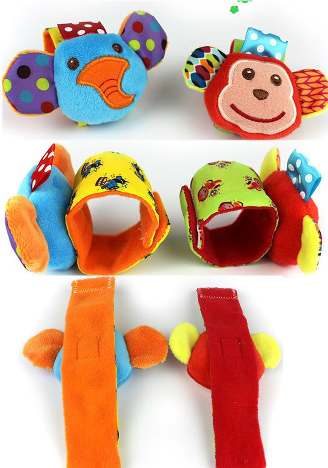 SKK Baby 4 Animal Wrist Rattle and Foot Finder Socks Set Development Toys Gift For Infant Boy Girl 3