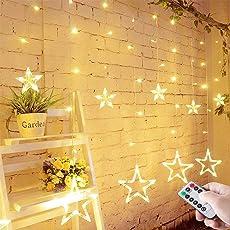 LED Lichterkette mit LED Kugel 12 Sterne 138 Leuchtioden Lichtervorhang Sternenvorhang 8 Modi Innen & Außenlichterkette Wasserdicht dekoration für Weihnachten Deko Party Festen - Warmweiß