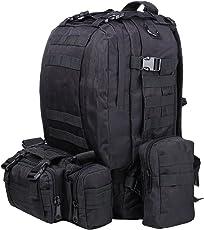 ttlife Wandern Rucksäcke kombiniert mit 3demontierbar MOLLE Taschen/Military Tasche, Rucksack, Military Military Rucksack, Rucksack, Militär, Rucksack Camouflage Tactical Rucksack für Camping, Trekking 55L (Camouflage/Schwarz/ACU/Khaki)